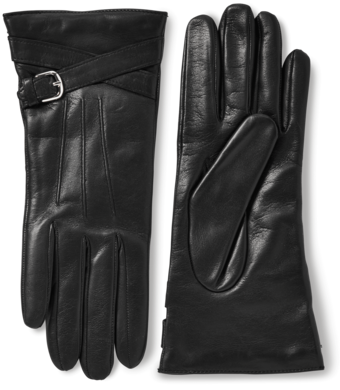 Nappa Leather Buckle Gloves With Cashmere Lining