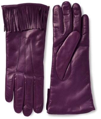 Nappa Leather Fringe Gloves With Cashmere Lining