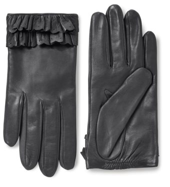 Nappa Leather Gloves With Ruffles