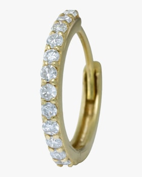 Single Gold Diamond Hinge Hoop