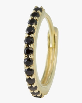 Single Gold Black Spinel Hinge Hoop