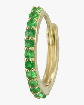 Single Gold Emerald Hinge Hoop