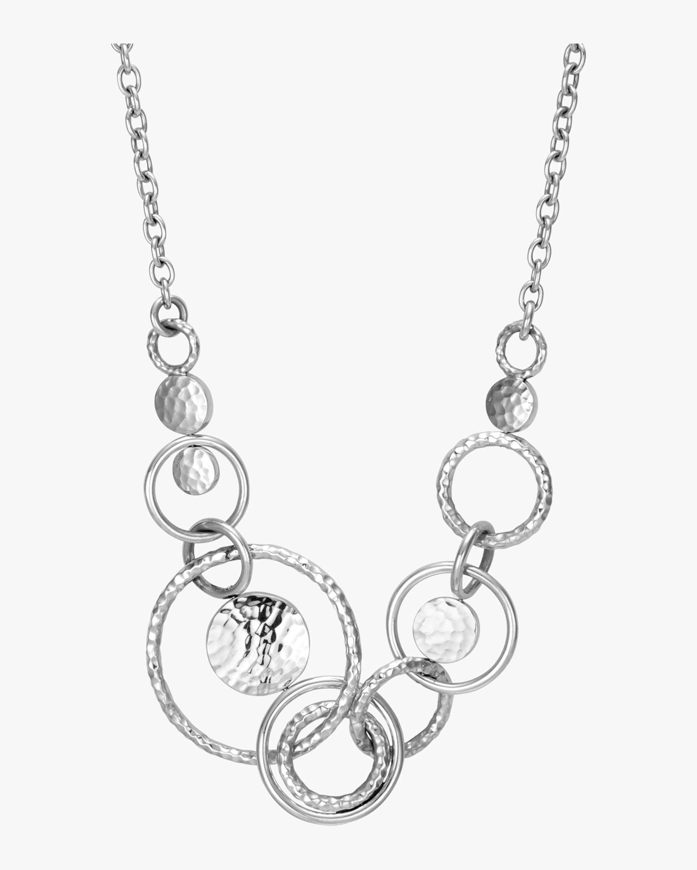 Dot Hammered Silver Multi Link Necklace