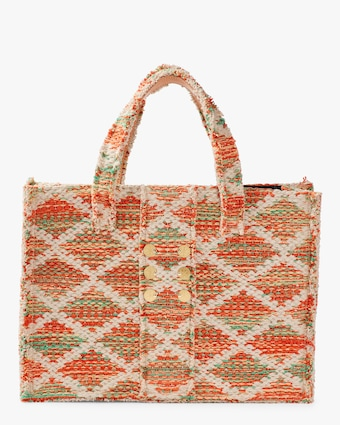Orange Knot Gold Coins Rhombus Book Tote