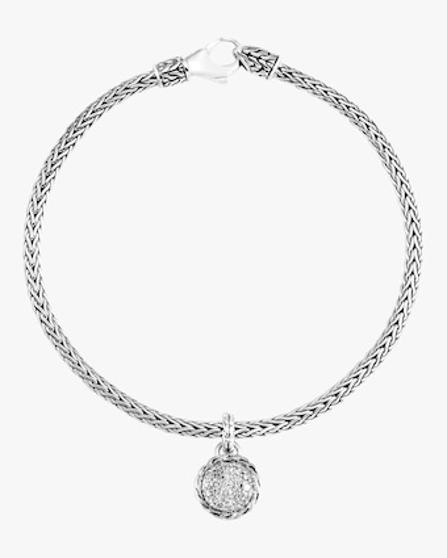 Classic Diamond Pave Round Charm Bracelet