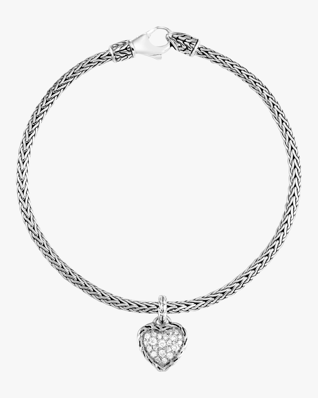 Classic Diamond Pave Heart Charm Bracelet