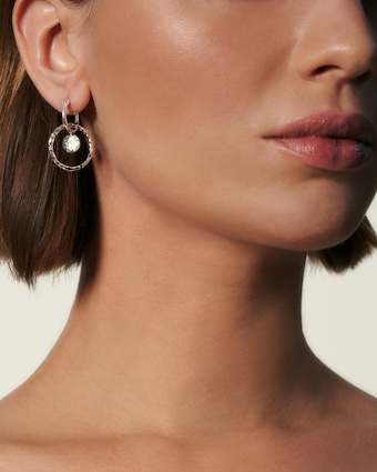 Dot Hammered Interlink Drop Earrings