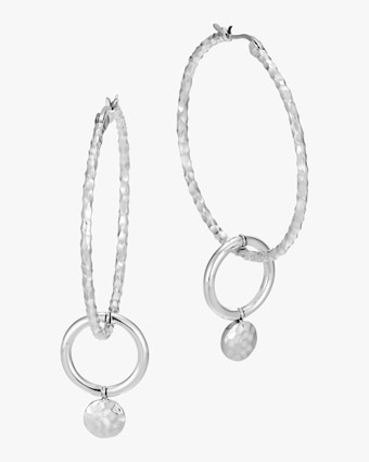 Dot Hammered Hoop Drop Earrings