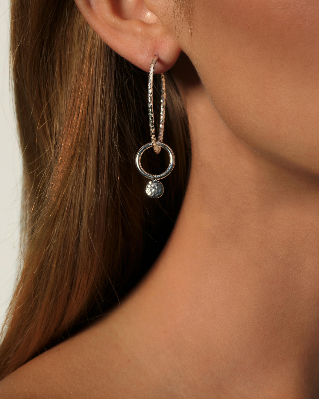 Dot Hammered Hoop Drop Earrings