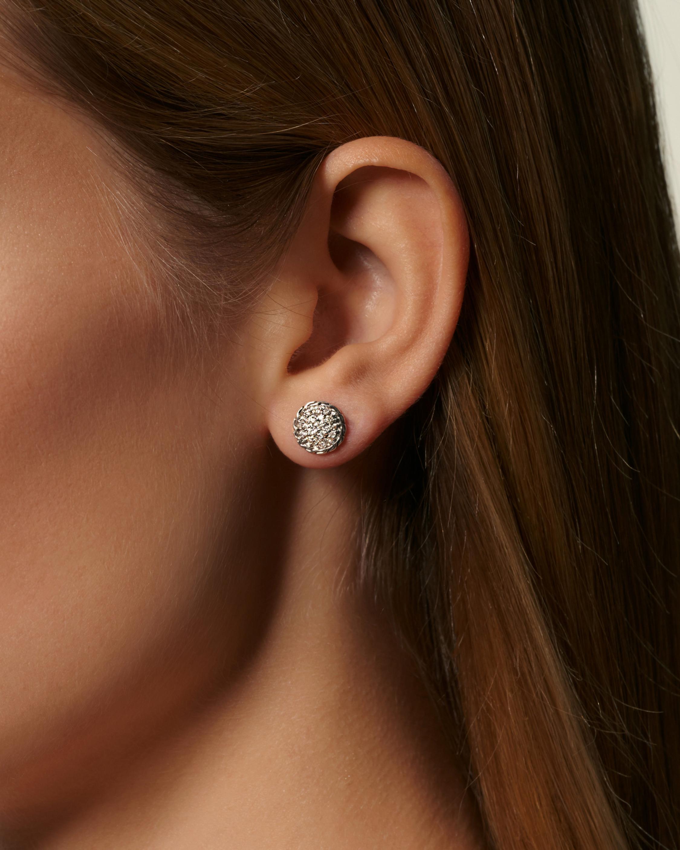 Classic Diamond Pave Round Stud Earrings