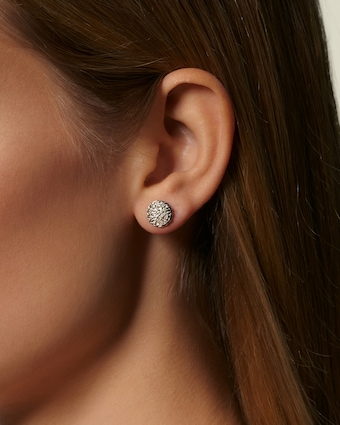 Classic Diamond Pave Round Stud Earrings