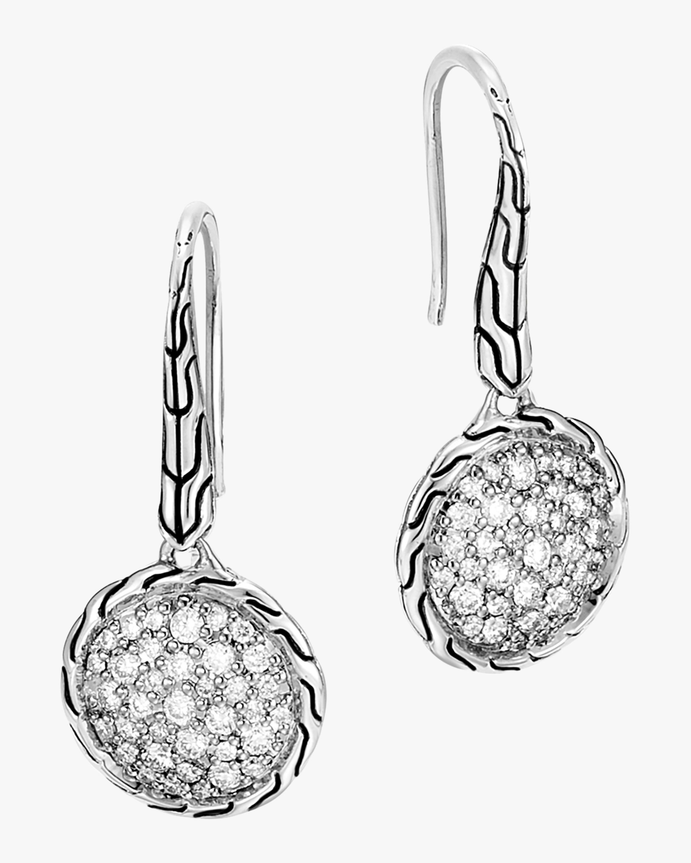 Classic Diamond Pave Round Drop Earrings
