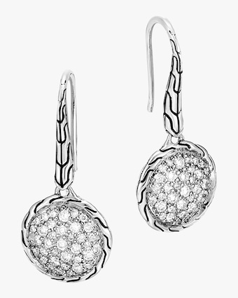 Classic Diamond Pave Round Drop Earrings
