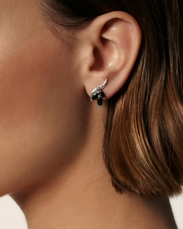 Bamboo Silver Stud Earrings