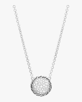 Classic Diamond Pave Round Pendant Necklace