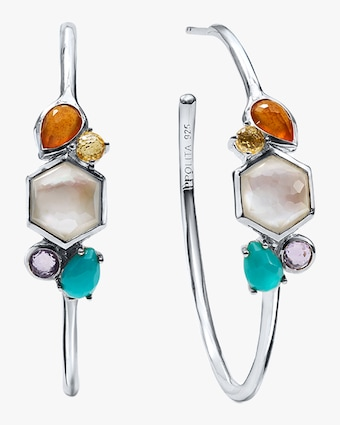 Rock Candy Stone Cluster Hoop Earrings