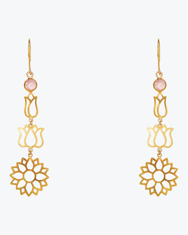 Pippa Small Burmese Long Lotus Earrings 1