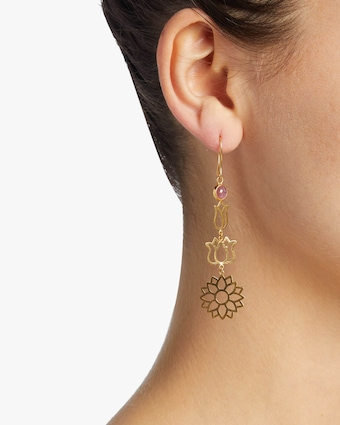 Pippa Small Burmese Long Lotus Earrings 2