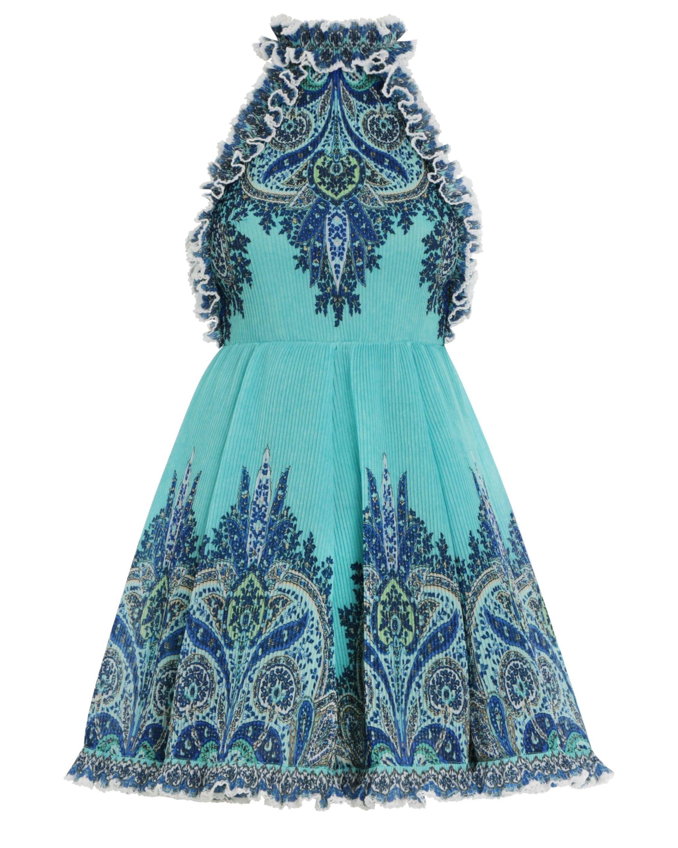 Moncur Ruffle Neck Mini Dress