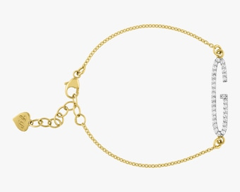 Elongated Diamond Initial Bracelet