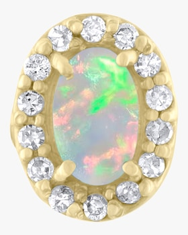 Oval Stone Diamond Single Stud Earring