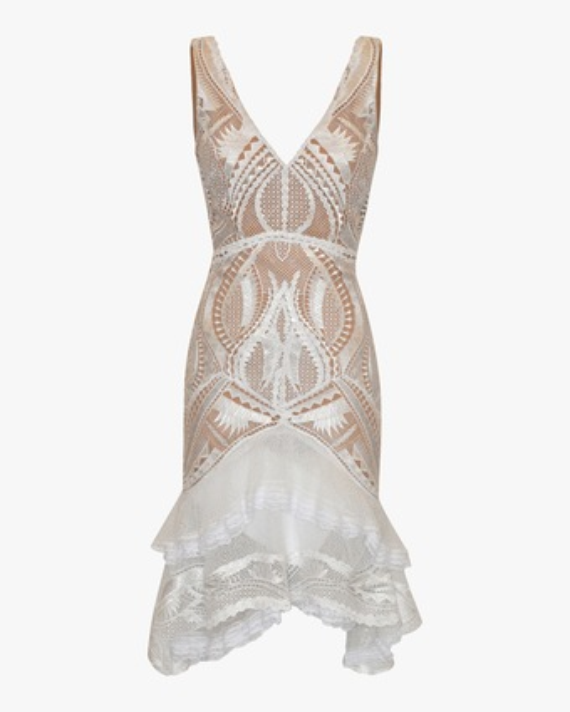 Guipure Applique Tiered Dress