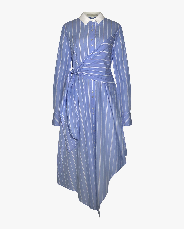 Asymmetric Wrap Oxford Dress