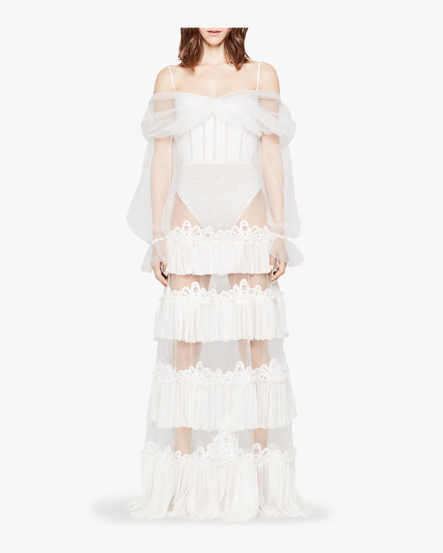 Sheer Tulle Off Shoulder Gown
