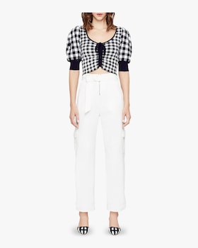 Gingham Knit Ruched Crop Top