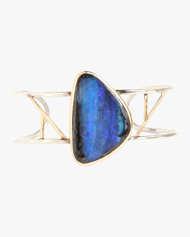 Boulder Opal Freeform Two Bar Cuff Bracelet