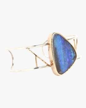 Boulder Opal Freeform Two Bar Cuff Bracelet