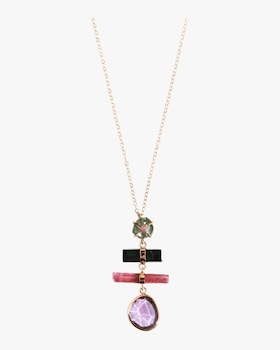 Watermelon Tourmaline And Amethyst Necklace