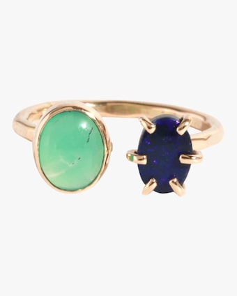 Australian Opal Doublet And Chrysoprase Ring