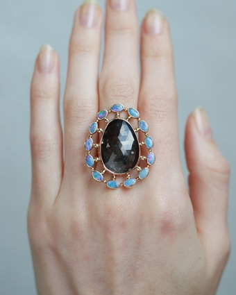 Sapphire And Opal Doublet Ring