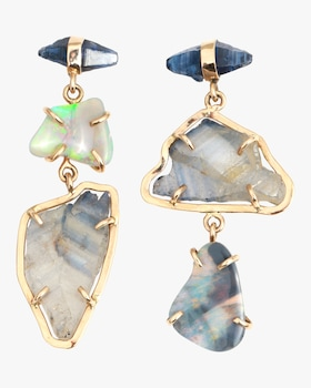Raw Blue Sapphire and Boulder Opal Three Drop Earrings