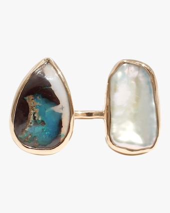 Boulder Opal And Pearl Open Faced Ring