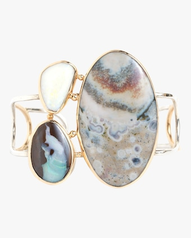 Boulder Opal And Ocean Jasper Cuff Bracelet