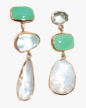Bubble Opal Three Drop Earrings