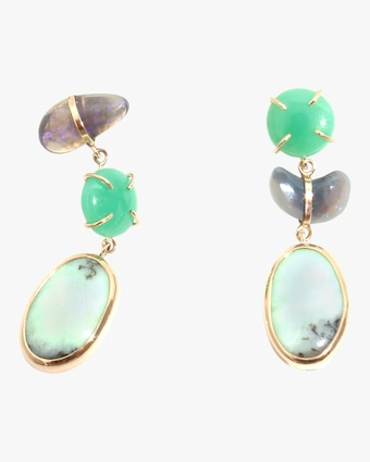 Chrysoprase And Opal Three Drop Earrings