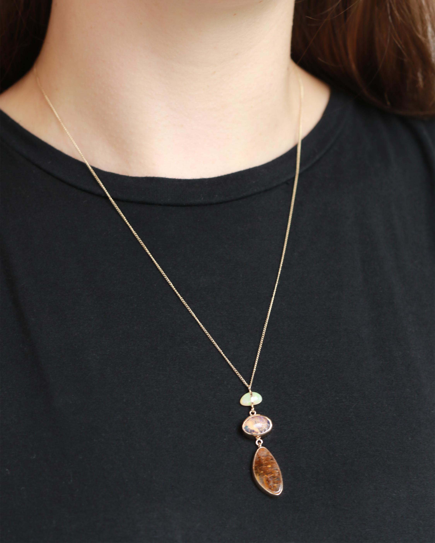 Opal and Cacoxenite Quartz Necklace