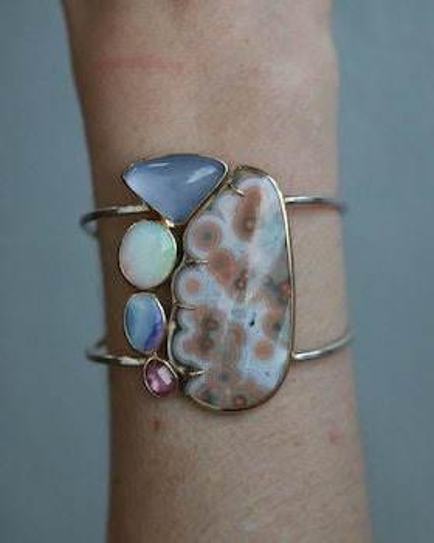 Ocean Jasper and Pink Sapphire Cuff Bracelet
