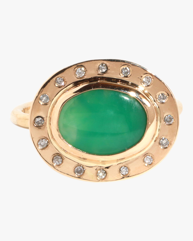 Horizontal Chrysoprase And Diamond Ring