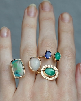 Horizontal Chrysoprase And Diamond Ring