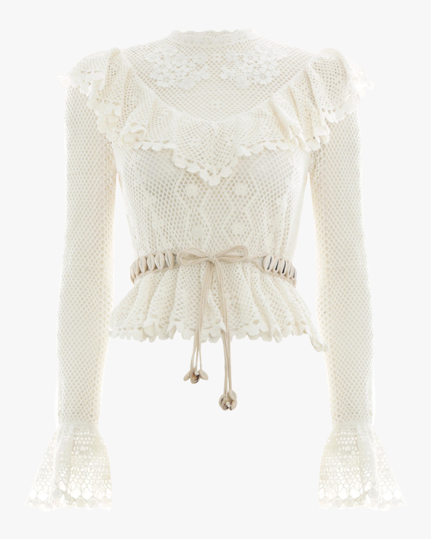 Allia Crochet Frill Top