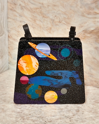Spaced Out Acrylic Hardbody Top Handle Bag