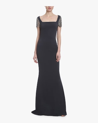 Embellished Cap Sleeve Gown