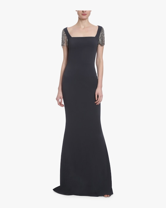 Badgley Mischka Embellished Cap Sleeve Gown 0