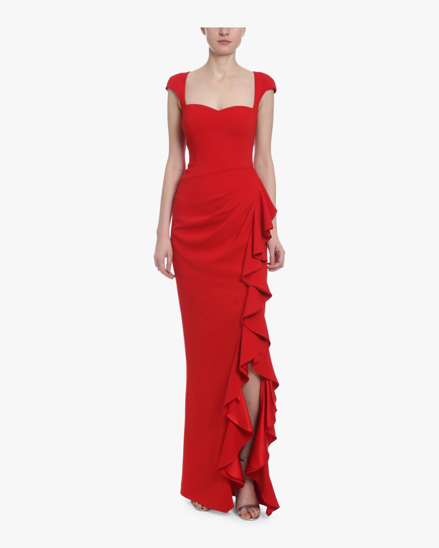 Heart Neckline Ruffle Gown