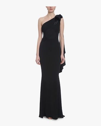 Asymmetrical Draped Embroidered Gown