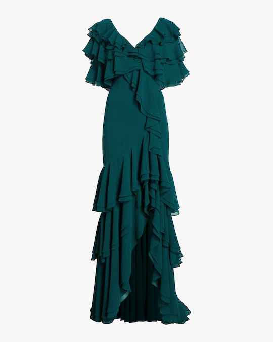 Badgley Mischka Cold Shoulder Ruffle Gown 0